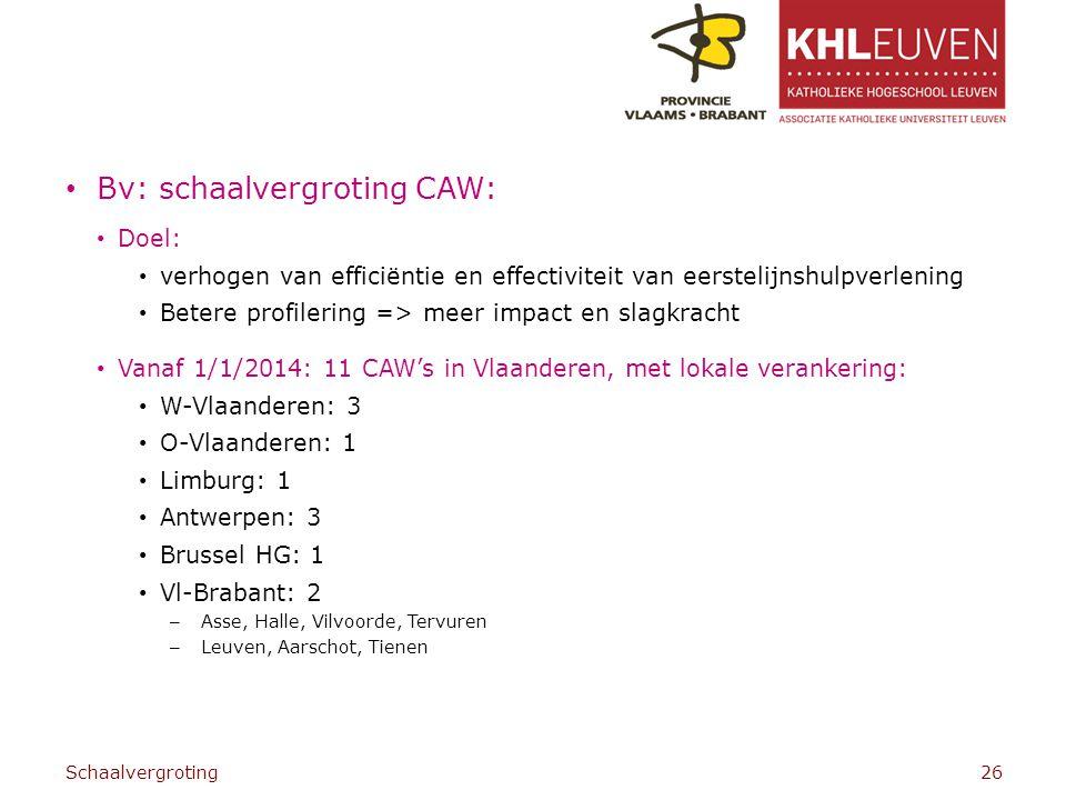 Bv: schaalvergroting CAW: Doel: verhogen van efficiëntie en effectiviteit van eerstelijnshulpverlening Betere profilering => meer impact en slagkracht Vanaf 1/1/2014: 11 CAW's in Vlaanderen, met lokale verankering: W-Vlaanderen: 3 O-Vlaanderen: 1 Limburg: 1 Antwerpen: 3 Brussel HG: 1 Vl-Brabant: 2 – Asse, Halle, Vilvoorde, Tervuren – Leuven, Aarschot, Tienen Schaalvergroting26