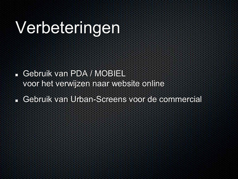 Verbeteringen Gebruik van PDA / MOBIEL voor het verwijzen naar website online Gebruik van Urban-Screens voor de commercial