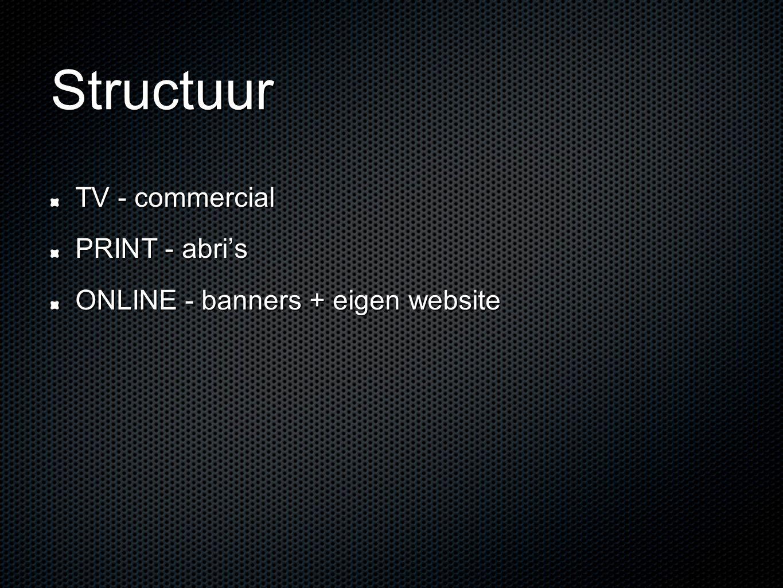 Structuur TV - commercial PRINT - abri's ONLINE - banners + eigen website