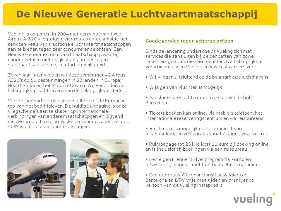 Vueling is opgericht in 2004 met een vloot van twee Airbus A-320 vliegtuigen, vier routes en de ambitie het serviceniveau van traditionele luchtvaartm