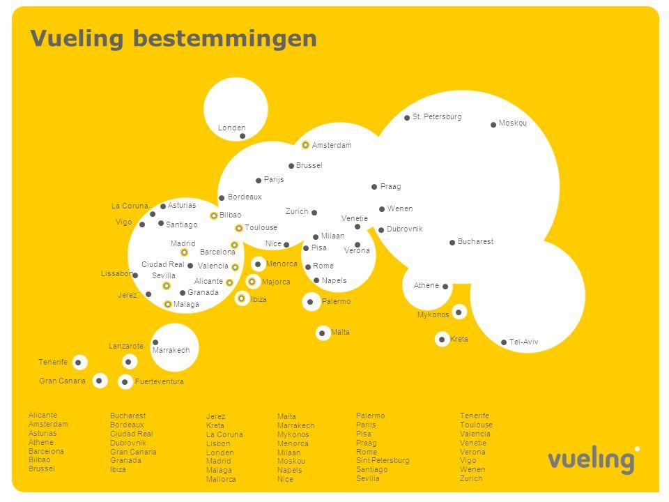 Vueling in Nederland Vueling startte zijn activiteiten op Schiphol in oktober 2005 met directe vluchten tussen Amsterdam en Barcelona en Valencia.