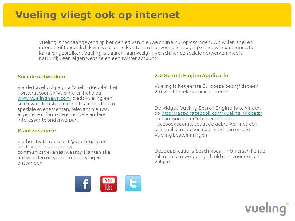 Vueling vliegt ook op internet Sociale netwerken Via de Facebookpagina 'Vueling People', het Twitteraccount @Vueling en het blog www.vuelingnews.com,