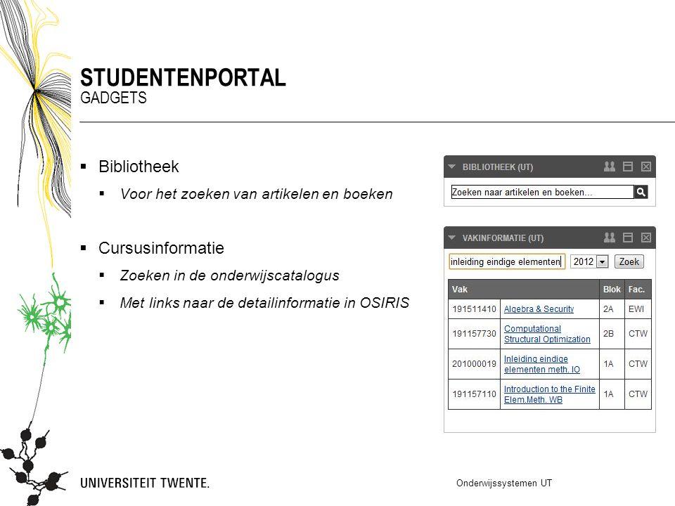  Bibliotheek  Voor het zoeken van artikelen en boeken  Cursusinformatie  Zoeken in de onderwijscatalogus  Met links naar de detailinformatie in O