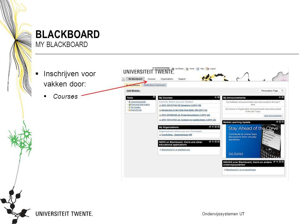  Inschrijven voor vakken door:  Courses Onderwijssystemen UT BLACKBOARD MY BLACKBOARD