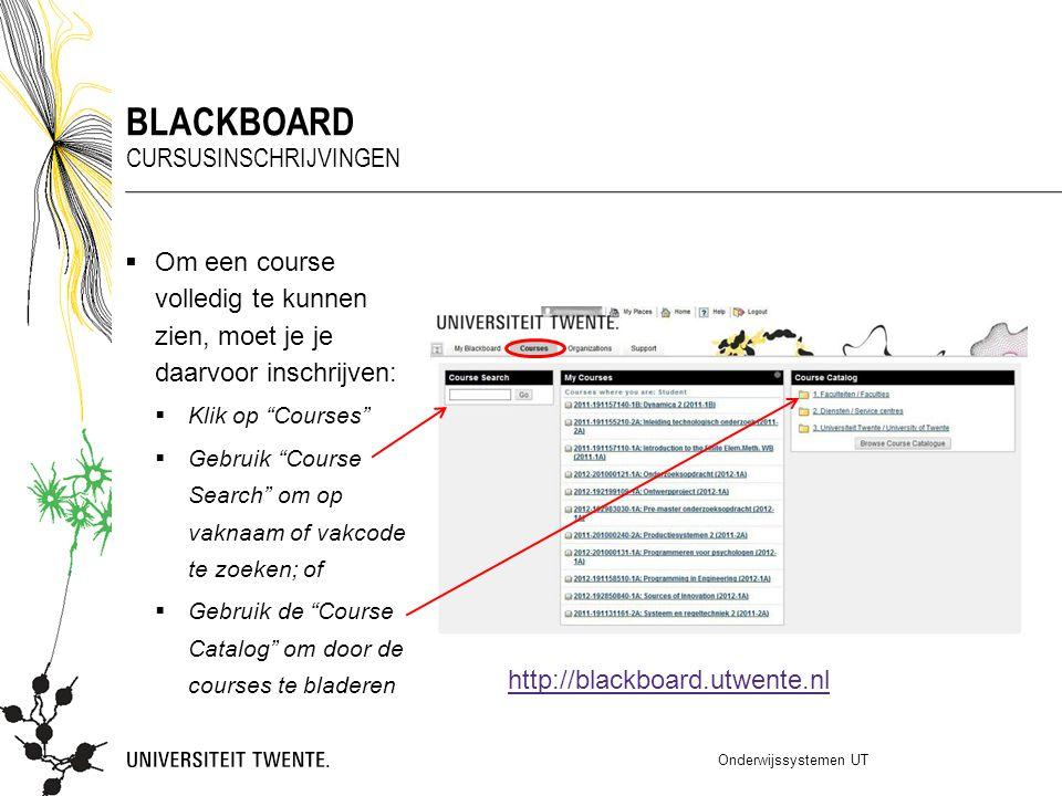 """ Om een course volledig te kunnen zien, moet je je daarvoor inschrijven:  Klik op """"Courses""""  Gebruik """"Course Search"""" om op vaknaam of vakcode te zo"""