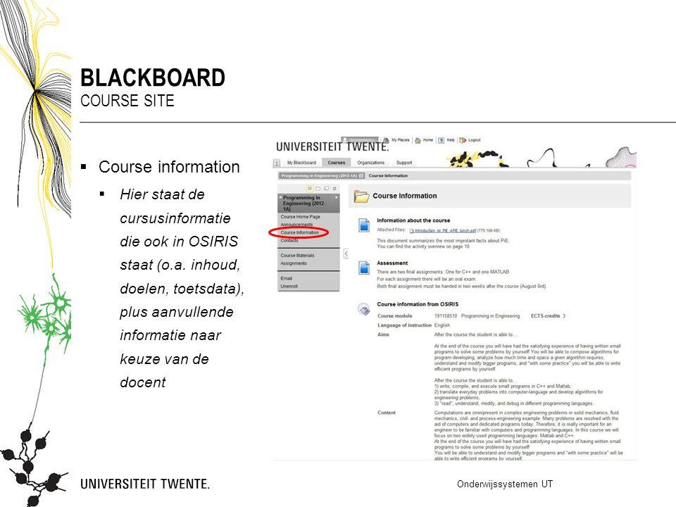 Course information  Hier staat de cursusinformatie die ook in OSIRIS staat (o.a. inhoud, doelen, toetsdata), plus aanvullende informatie naar keuze