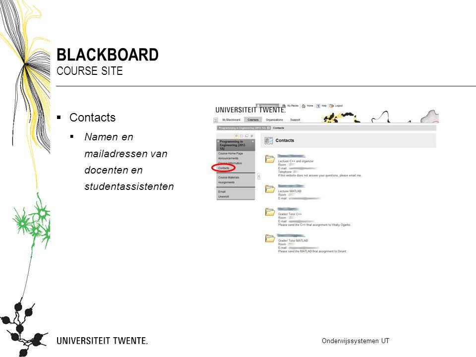  Contacts  Namen en mailadressen van docenten en studentassistenten Onderwijssystemen UT BLACKBOARD COURSE SITE