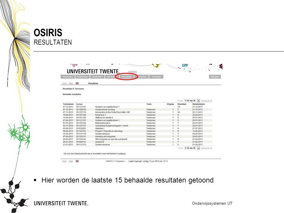  Hier worden de laatste 15 behaalde resultaten getoond Onderwijssystemen UT OSIRIS RESULTATEN
