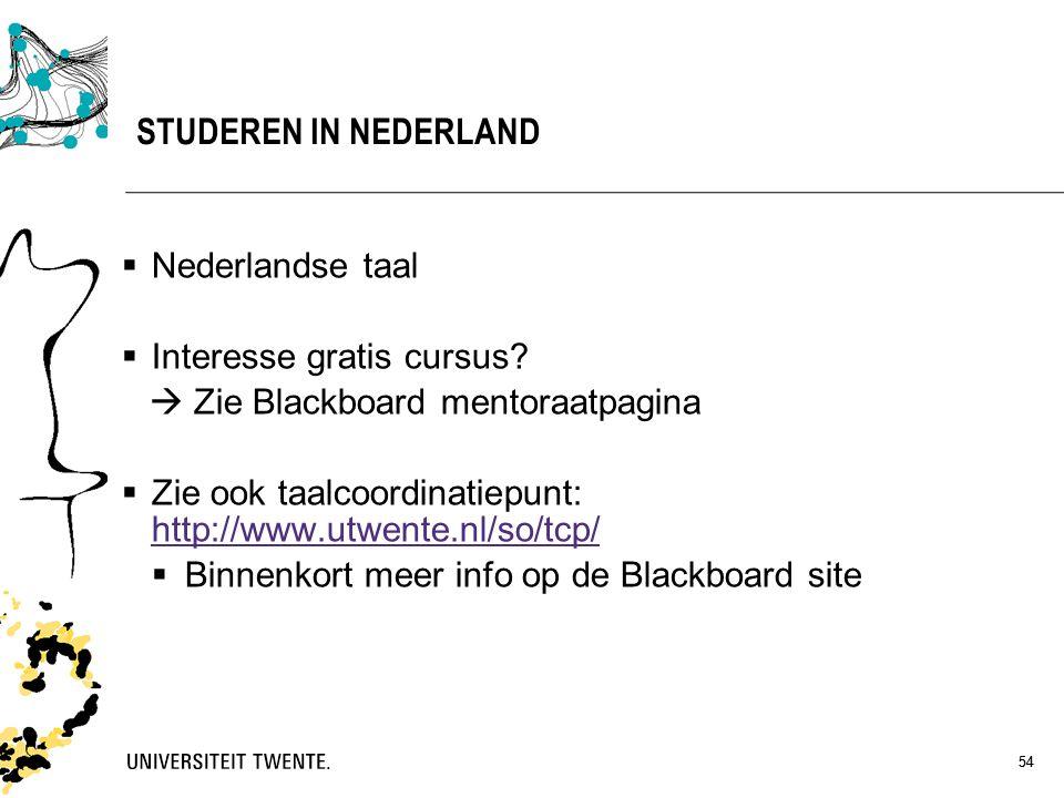 54 STUDEREN IN NEDERLAND  Nederlandse taal  Interesse gratis cursus?  Zie Blackboard mentoraatpagina  Zie ook taalcoordinatiepunt: http://www.utwe