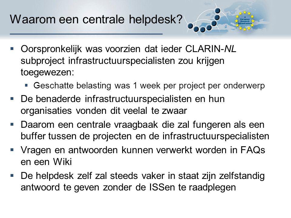 Waarom een centrale helpdesk?  Oorspronkelijk was voorzien dat ieder CLARIN-NL subproject infrastructuurspecialisten zou krijgen toegewezen:  Gescha