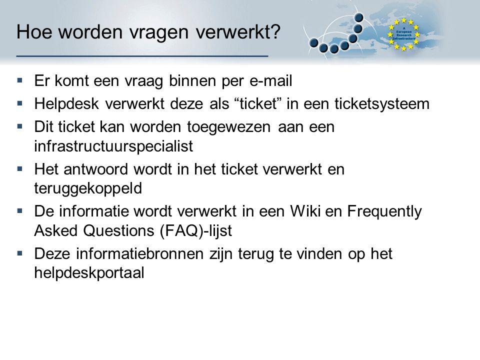 """Hoe worden vragen verwerkt?  Er komt een vraag binnen per e-mail  Helpdesk verwerkt deze als """"ticket"""" in een ticketsysteem  Dit ticket kan worden t"""