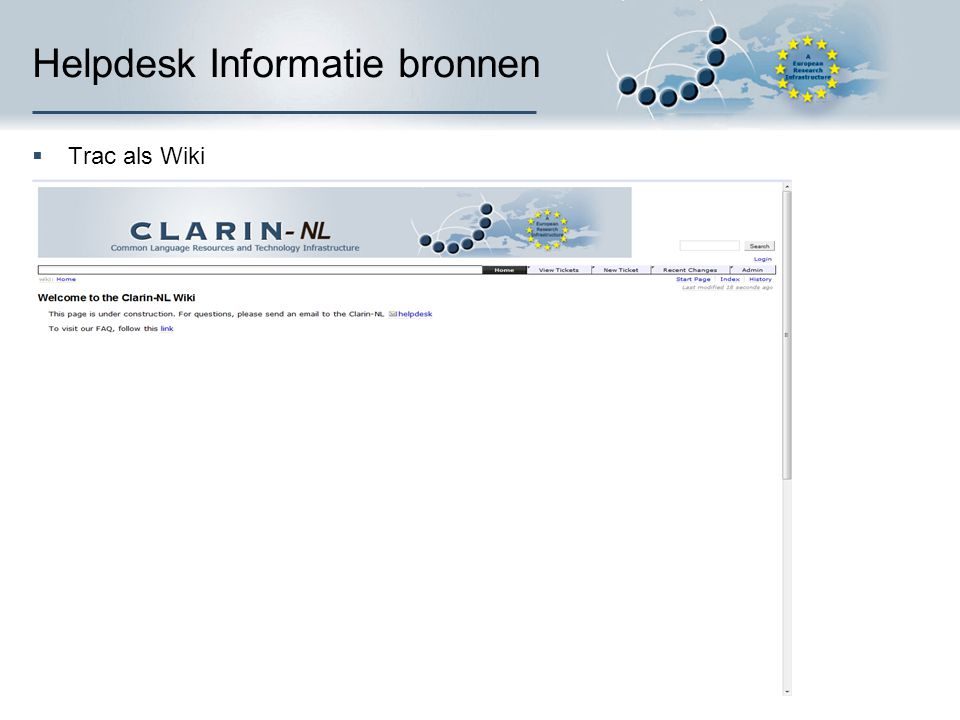 Helpdesk Informatie bronnen  Trac als Wiki