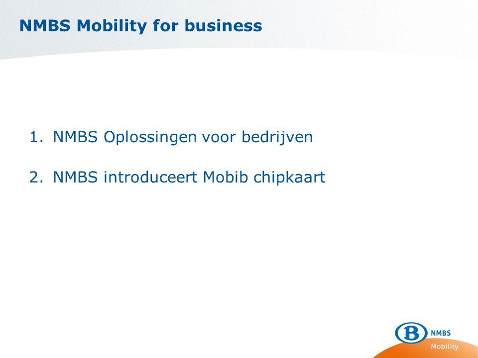NMBS Mobility for business 1.NMBS Oplossingen voor bedrijven 2.NMBS introduceert Mobib chipkaart