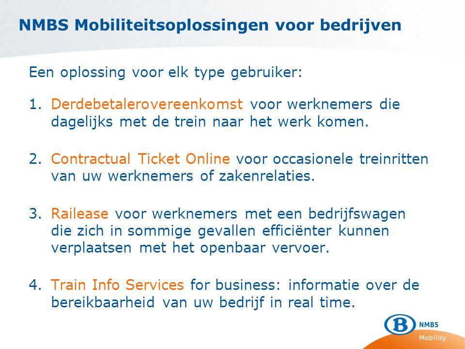 NMBS Mobiliteitsoplossingen voor bedrijven Een oplossing voor elk type gebruiker: 1.Derdebetalerovereenkomst voor werknemers die dagelijks met de trein naar het werk komen.