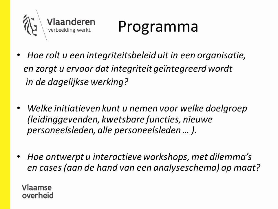Programma Hoe rolt u een integriteitsbeleid uit in een organisatie, en zorgt u ervoor dat integriteit geïntegreerd wordt in de dagelijkse werking? Wel