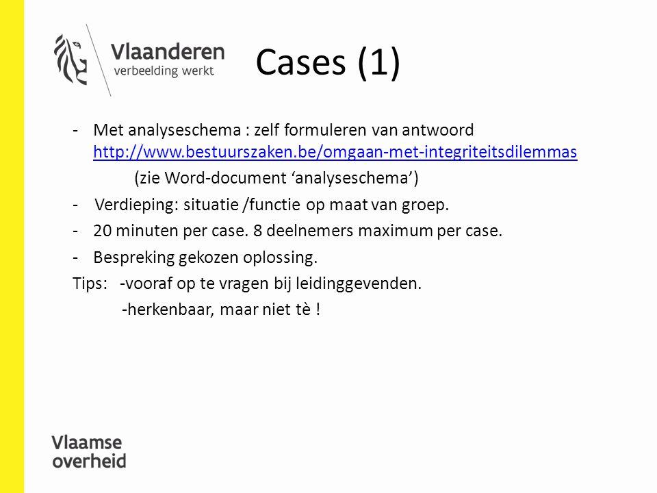 Cases (1) -Met analyseschema : zelf formuleren van antwoord http://www.bestuurszaken.be/omgaan-met-integriteitsdilemmas http://www.bestuurszaken.be/om