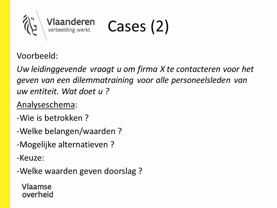 Cases (2) Voorbeeld: Uw leidinggevende vraagt u om firma X te contacteren voor het geven van een dilemmatraining voor alle personeelsleden van uw enti