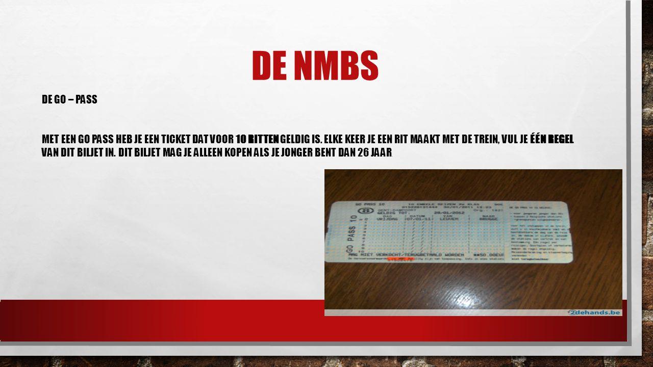 DE NMBS DE GO – PASS MET EEN GO PASS HEB JE EEN TICKET DAT VOOR 10 RITTEN GELDIG IS.