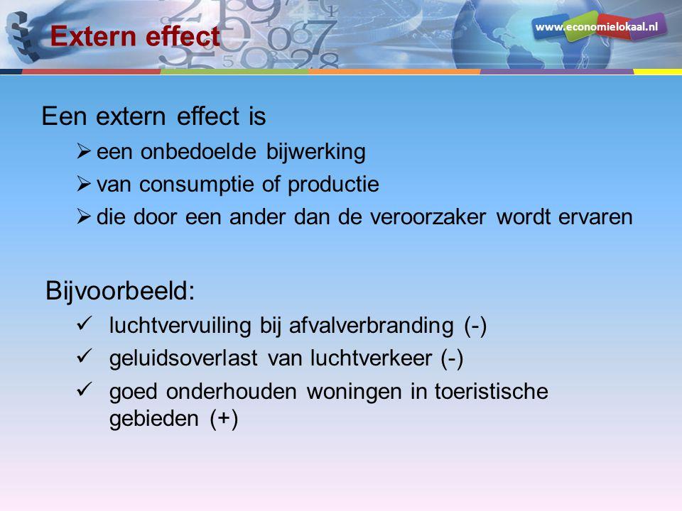 www.economielokaal.nl Extern effect Een extern effect is  een onbedoelde bijwerking  van consumptie of productie  die door een ander dan de veroorzaker wordt ervaren Bijvoorbeeld: luchtvervuiling bij afvalverbranding (-) geluidsoverlast van luchtverkeer (-) goed onderhouden woningen in toeristische gebieden (+)
