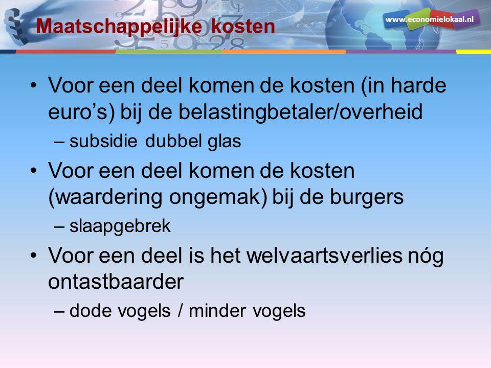 www.economielokaal.nl Maatschappelijke kosten Voor een deel komen de kosten (in harde euro's) bij de belastingbetaler/overheid –subsidie dubbel glas V