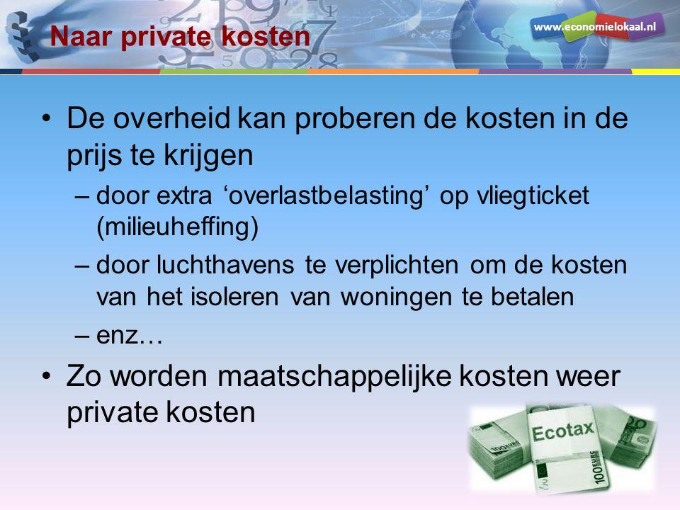 www.economielokaal.nl Naar private kosten De overheid kan proberen de kosten in de prijs te krijgen –door extra 'overlastbelasting' op vliegticket (milieuheffing) –door luchthavens te verplichten om de kosten van het isoleren van woningen te betalen –enz… Zo worden maatschappelijke kosten weer private kosten
