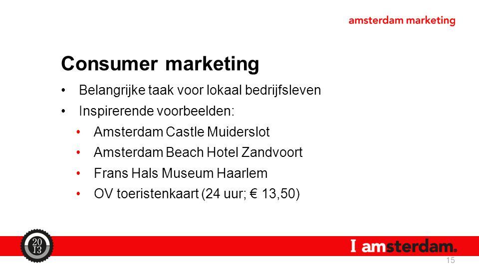 Consumer marketing Belangrijke taak voor lokaal bedrijfsleven Inspirerende voorbeelden: Amsterdam Castle Muiderslot Amsterdam Beach Hotel Zandvoort Frans Hals Museum Haarlem OV toeristenkaart (24 uur; € 13,50) 15