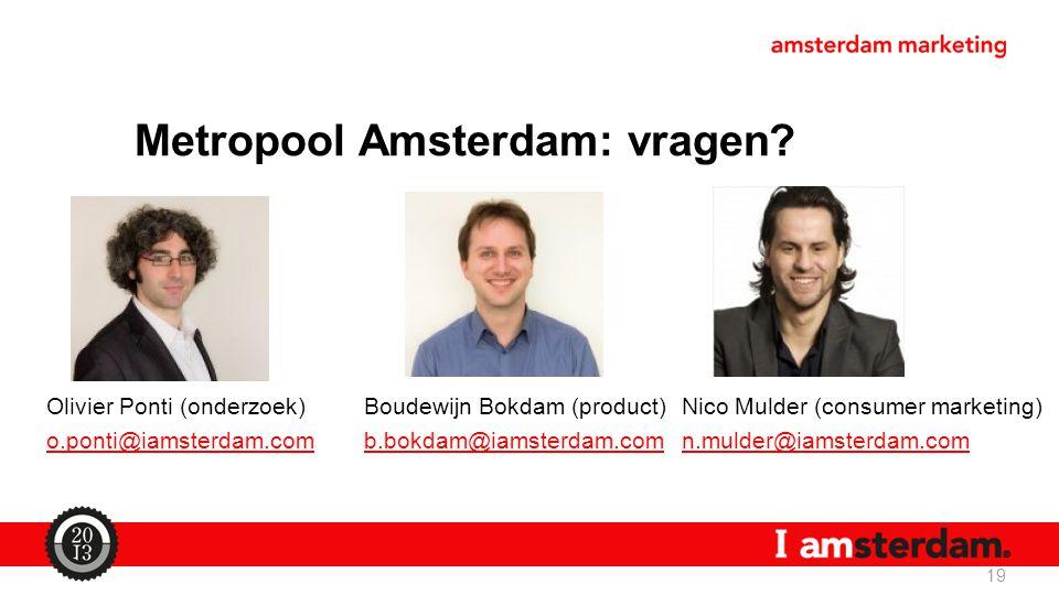 Metropool Amsterdam: vragen? Olivier Ponti (onderzoek)Boudewijn Bokdam (product)Nico Mulder (consumer marketing) o.ponti@iamsterdam.comb.bokdam@iamste