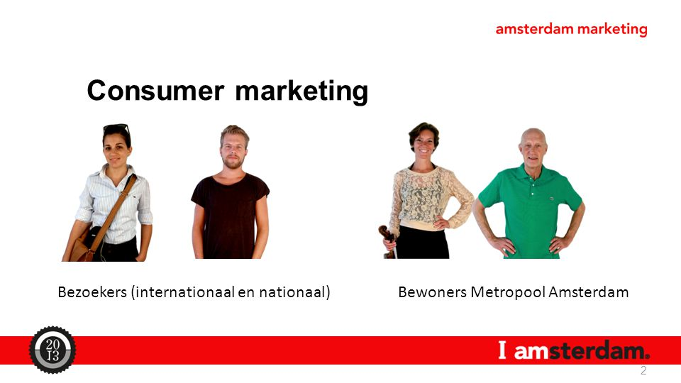 Consumer marketing 2 Bezoekers (internationaal en nationaal)Bewoners Metropool Amsterdam