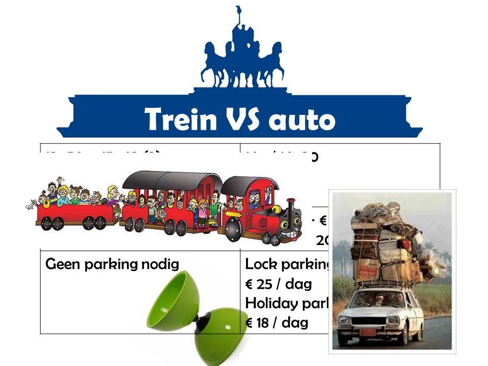 Trein VS auto 13u50 – 15u42 (2) 14u15 – 15u47 (1) 14u18 – 16u14 (2) 14u / 14u30 Go pass € 5 / rit DIABOLO ticket € 3,90 / rit Benzine +- € 20 Diesel +