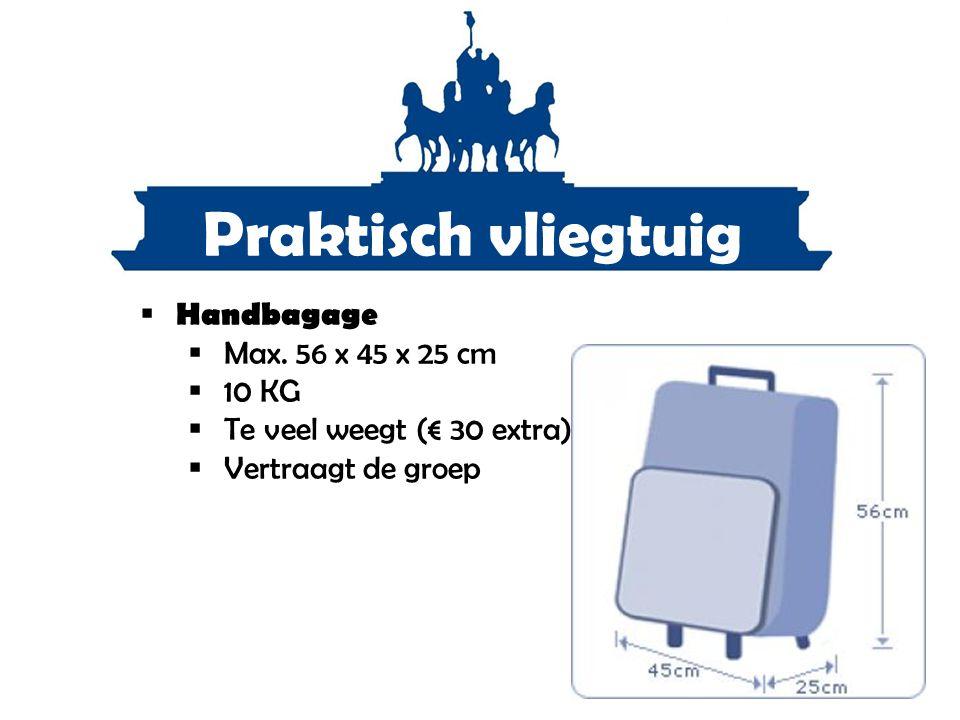 Praktisch vliegtuig  Handbagage  Max. 56 x 45 x 25 cm  10 KG  Te veel weegt (€ 30 extra)  Vertraagt de groep