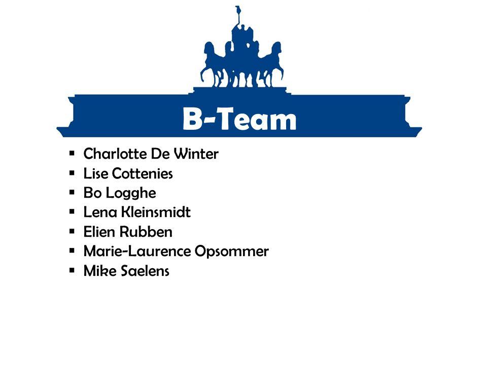 B-Team  Charlotte De Winter  Lise Cottenies  Bo Logghe  Lena Kleinsmidt  Elien Rubben  Marie-Laurence Opsommer  Mike Saelens