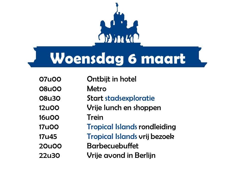 Woensdag 6 maart 07u00Ontbijt in hotel 08u00Metro 08u30Start stadsexploratie 12u00Vrije lunch en shoppen 16u00Trein 17u00Tropical Islands rondleiding