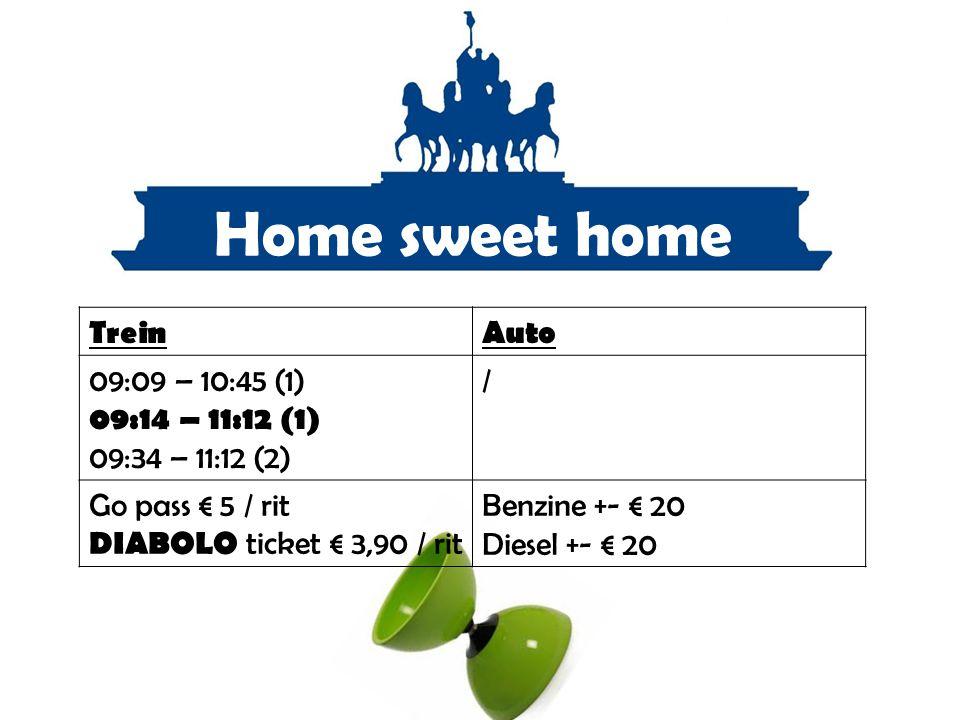 Home sweet home TreinAuto 09:09 – 10:45 (1) 09:14 – 11:12 (1) 09:34 – 11:12 (2) / Go pass € 5 / rit DIABOLO ticket € 3,90 / rit Benzine +- € 20 Diesel