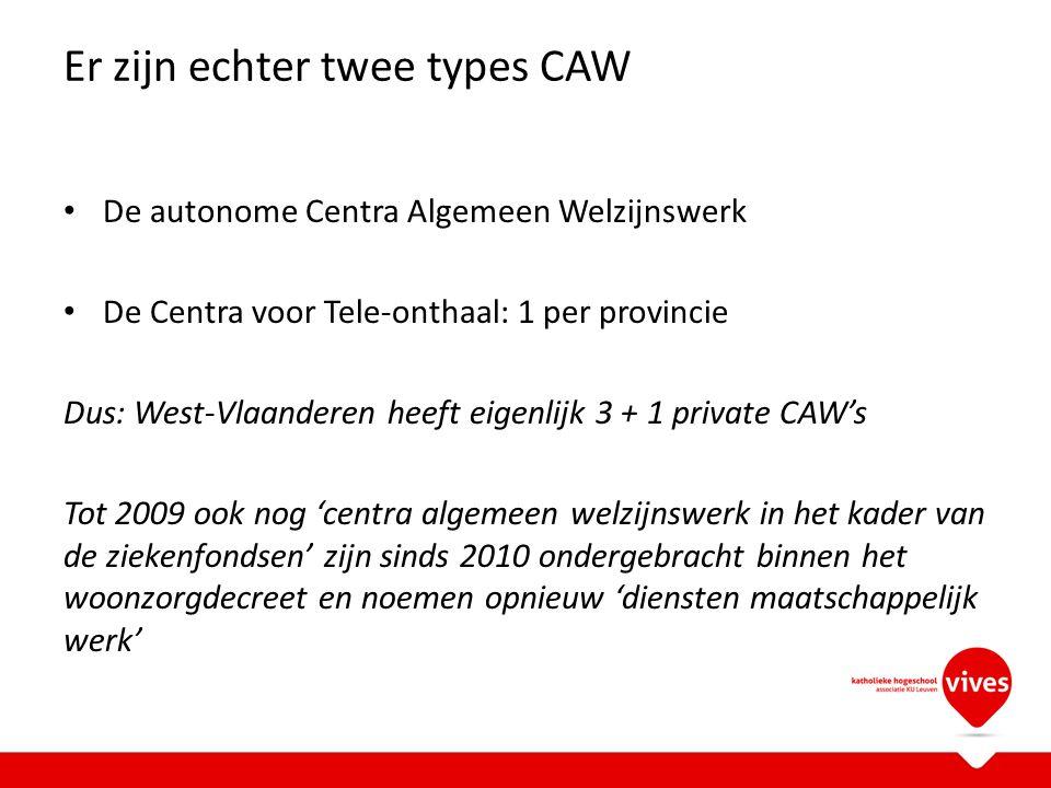 Er zijn echter twee types CAW De autonome Centra Algemeen Welzijnswerk De Centra voor Tele-onthaal: 1 per provincie Dus: West-Vlaanderen heeft eigenli