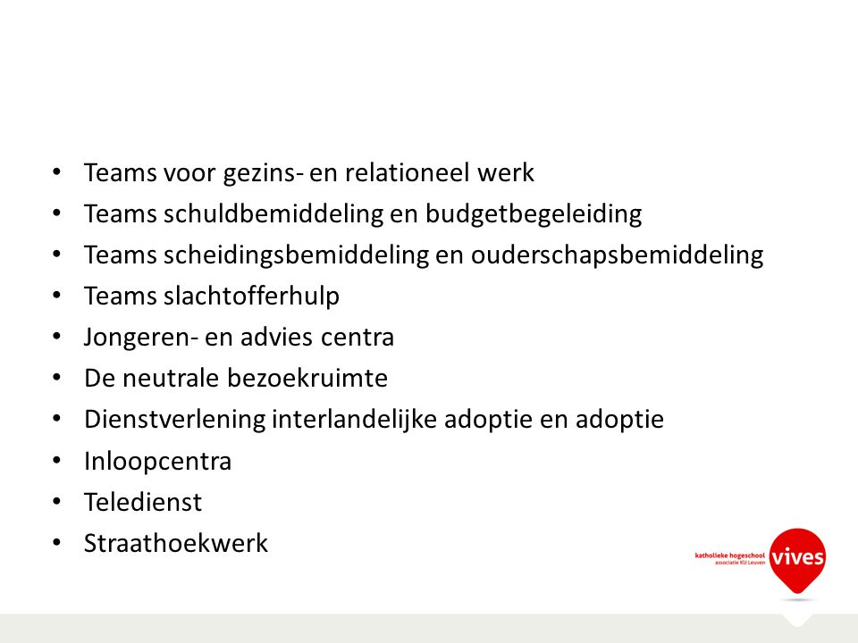 Teams voor gezins- en relationeel werk Teams schuldbemiddeling en budgetbegeleiding Teams scheidingsbemiddeling en ouderschapsbemiddeling Teams slacht
