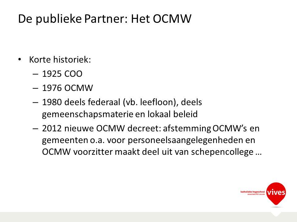 De publieke Partner: Het OCMW Korte historiek: – 1925 COO – 1976 OCMW – 1980 deels federaal (vb. leefloon), deels gemeenschapsmaterie en lokaal beleid