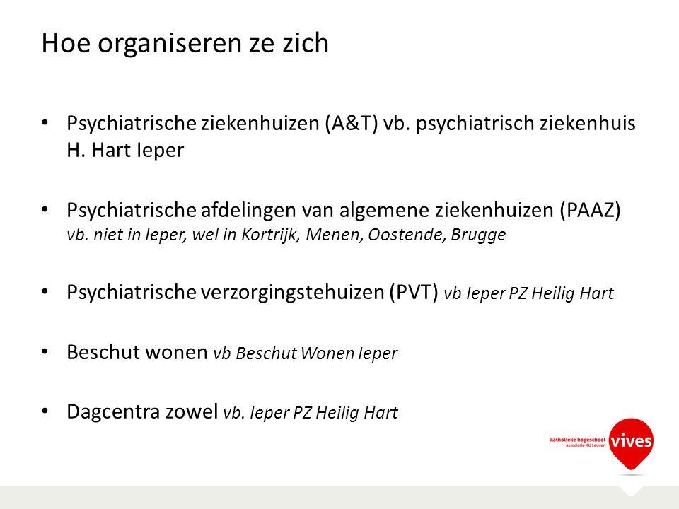 Hoe organiseren ze zich Psychiatrische ziekenhuizen (A&T) vb. psychiatrisch ziekenhuis H. Hart Ieper Psychiatrische afdelingen van algemene ziekenhuiz