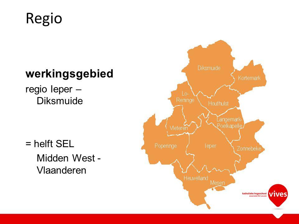 Regio werkingsgebied regio Ieper – Diksmuide = helft SEL Midden West - Vlaanderen