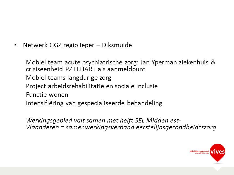 Netwerk GGZ regio Ieper – Diksmuide Mobiel team acute psychiatrische zorg: Jan Yperman ziekenhuis & crisiseenheid PZ H.HART als aanmeldpunt Mobiel tea