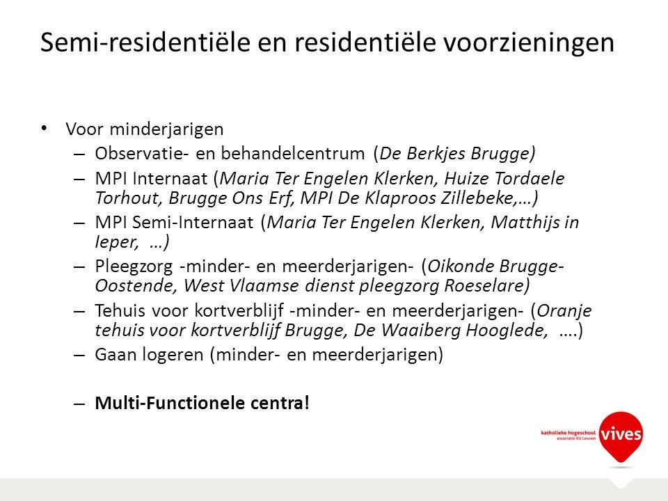 Semi-residentiële en residentiële voorzieningen Voor minderjarigen – Observatie- en behandelcentrum (De Berkjes Brugge) – MPI Internaat (Maria Ter Eng