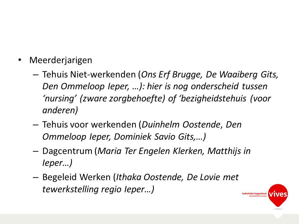 Meerderjarigen – Tehuis Niet-werkenden (Ons Erf Brugge, De Waaiberg Gits, Den Ommeloop Ieper, …): hier is nog onderscheid tussen 'nursing' (zware zorg