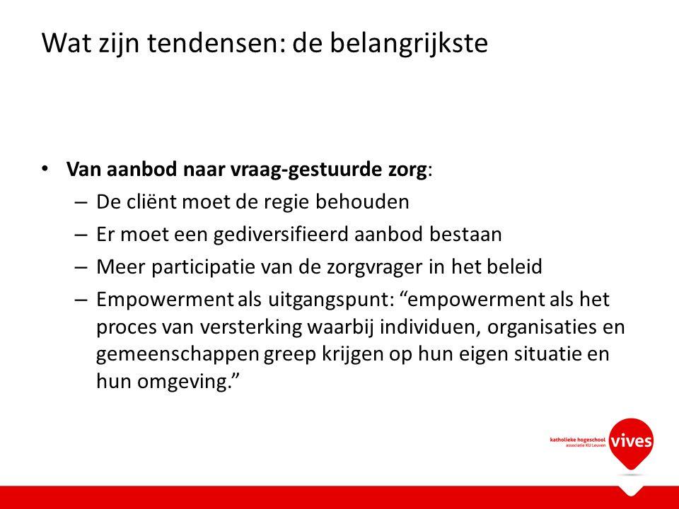 - Geïntegreerd wonen gelijkt op opvang in tehuis voor niet- werkenden maar proberen te integreren in inclusieve woonprojecten (Geïntegreerd wonen Oranje Brugge) - Diensten inclusieve ondersteuning of DIO (Dominiek Savio Gits of Oranje Brugge of Kortrijk Den Achtkanter of..): de diensten beschermd wonen en diensten geïntegreerd wonen gaan vanaf 2013 opgaan in DIO: inclusief, maatgericht, vraag-gestuurd: de behoefte moet duidelijk in kaart gebracht zijn: hier komt ook het 'Persoonsgebonden Budget' naar voor…