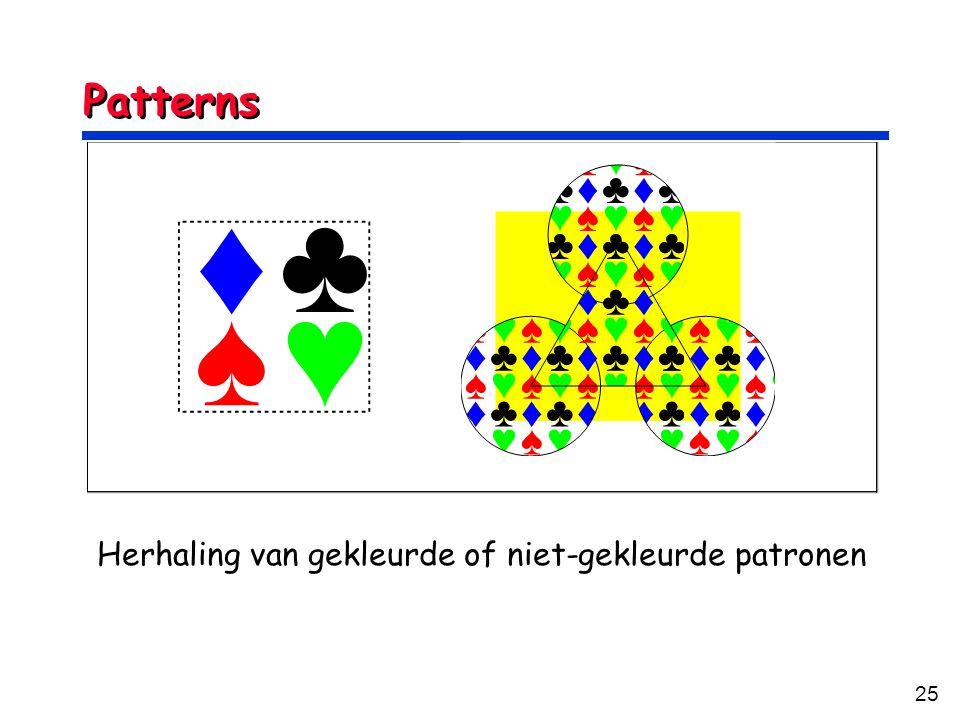 25 Patterns Herhaling van gekleurde of niet-gekleurde patronen