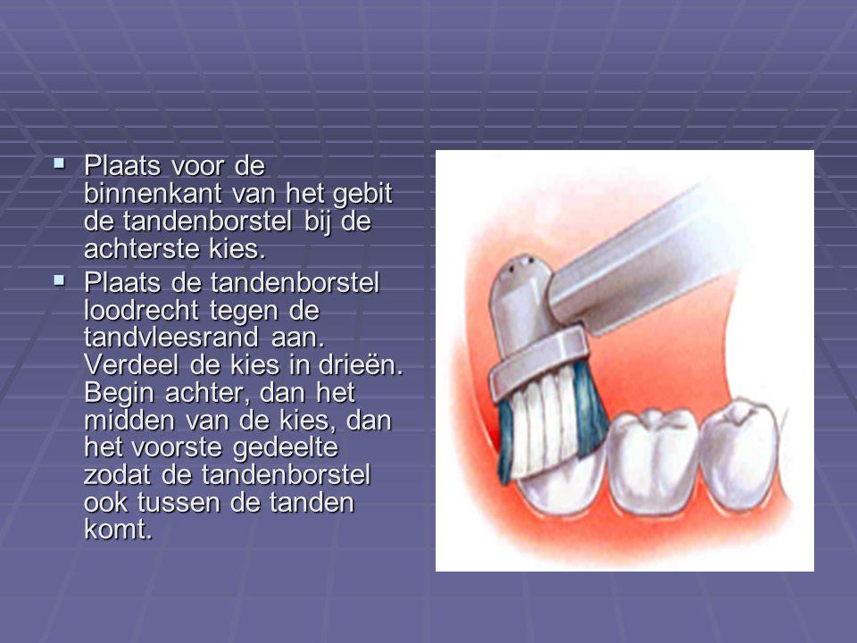  Plaats voor de binnenkant van het gebit de tandenborstel bij de achterste kies.  Plaats de tandenborstel loodrecht tegen de tandvleesrand aan. Verd