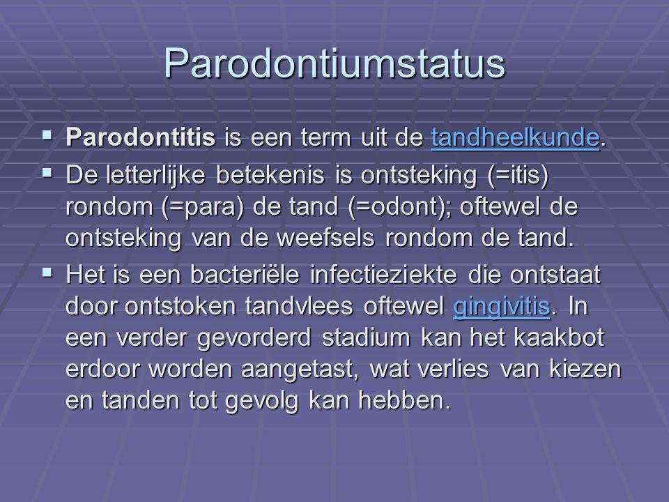  Waar gingivitis vooral door de hoeveelheid tandplaque veroorzaakt wordt (maw dus van alle bacteriën), is parodontitis te wijten aan de activiteiten van specifieke bacteriën, zoals Actinobacillus actinomycetemcomitans, Treponema denticola, Porphyromonas gingivalis , Prevotella intermedia gingivitistandplaqueActinobacillus actinomycetemcomitans Treponema denticolaPorphyromonas gingivalis Prevotella intermediagingivitistandplaqueActinobacillus actinomycetemcomitans Treponema denticolaPorphyromonas gingivalis Prevotella intermedia  Daarbij spelen ook nog eens verschillende andere factoren een rol, zoals: roken, systemische aandoeningen zoals diabetes en genetische factoren.