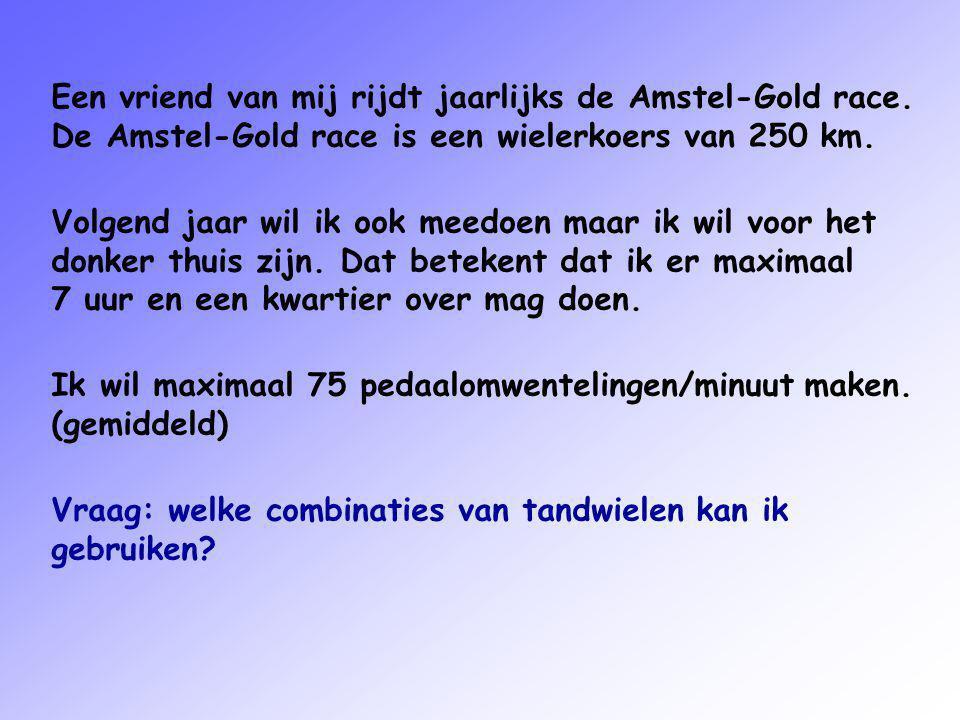 Een vriend van mij rijdt jaarlijks de Amstel-Gold race. De Amstel-Gold race is een wielerkoers van 250 km. Volgend jaar wil ik ook meedoen maar ik wil