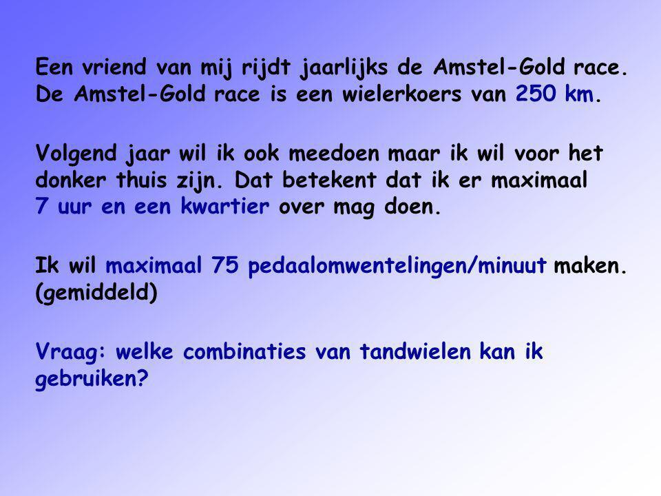 Een vriend van mij rijdt jaarlijks de Amstel-Gold race.