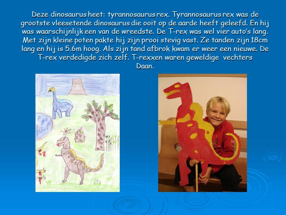 Deze dinosaurus heet: tyrannosaurus rex. Tyrannosaurus rex was de grootste vleesetende dinosaurus die ooit op de aarde heeft geleefd. En hij was waars
