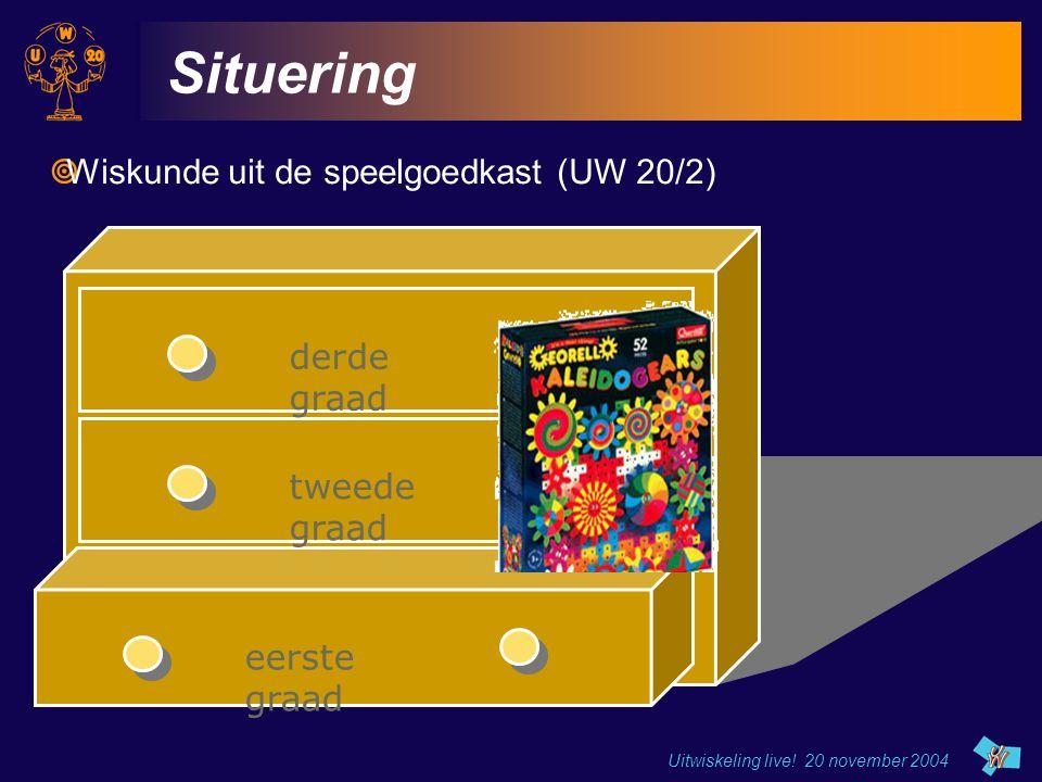 Uitwiskeling live! 20 november 2004 eerste graad tweede graad derde graad Situering  Wiskunde uit de speelgoedkast (UW 20/2)