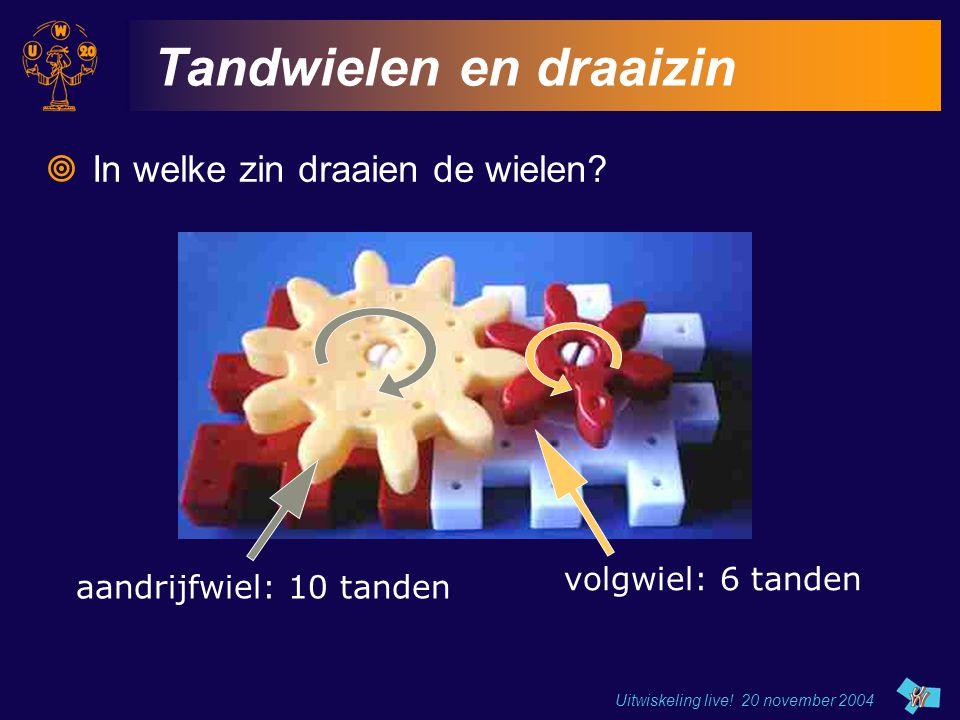 Uitwiskeling live! 20 november 2004 Tandwielen en draaizin  In welke zin draaien de wielen? aandrijfwiel: 10 tanden volgwiel: 6 tanden